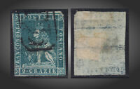 1851 TUSCANY LION USED 2 CRAZIE GRENNISH BLUE WMK 185 SCT.5a MI.5xa SASSONE 5