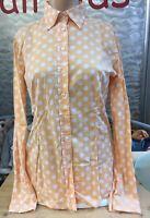 Darling Harbour Bluse Gr 36 Langarm orange weiß gepunktet Stretch 1A Zustand
