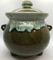 Vintage Hull McCoy Pottery Green Drip Glaze Bean Pot Cauldron Stew Soup 3-Footed