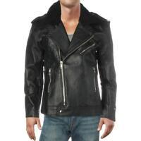 Deadwood Mens Avery Black Leather Motorcycle Jacket Outerwear 44 BHFO 6505
