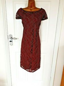 """Klass size 16 Lined lace Shift Dress in red/gold Bust  44"""""""