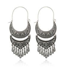 Metal Tassel Dangle Earrings Oversize Pendant Long Earring Ethnic Indian Jewelry