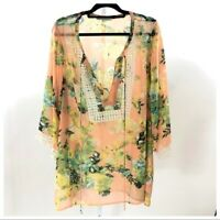 Daniel Rainn Peach Floral Semi Sheer Tunic 2X Lace Trim Plus Womens