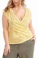 Michel Studio Womens Knit Top Yellow Size 1X Plus Surplice Printed $58 918