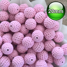 10 x Crochet wood beads 20mm Pastel Pink wooden teething baby safe jewellery