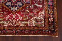 Vintage Geometric Tribal Red 13ft Runner Heriz Serapi Hand-Knotted Area Rug 5x13