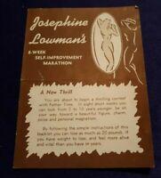 1951 JOSEPHINE LOOWMAN's 8 Week Self Improvement Marathon Booklet Flier