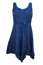 Boho Gypsy Hippie Women's Dress Rayon Embroidered Criss Cross Laces Summer Top