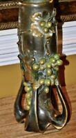 Amphora Art Nouveau Bohemian Pottery Vase with Grapes and leaves c.1900,