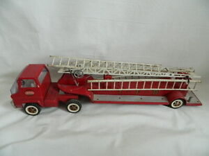 "Vintage 1960's Tonka TFD Red Aerial Ladder Fire Truck Ladder Trailer 30"""