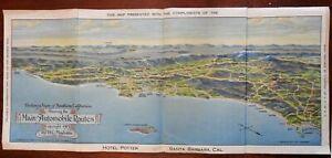 Hotel Potter Southern California 1913 Promotional birds-eye Auto Map San Diego