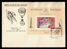 1966 PARAGUAY FDC SPACE GEMINI V CACHET S/S IMPERF