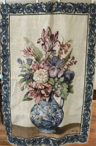 """EUC Mohawk Fabric Tapestry SPRING FLOWERS Wall Hanging Ready To Hang 36"""" X 54""""*"""