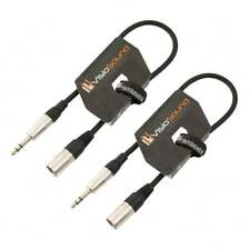 2 x Male XLR to 6.35mm Stereo Jack Lead / Balanced Signal Patch Cable / 2 Pack