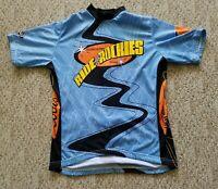 Verge Men's Short Sleeve Cycling Jersey 3/4 Length Zipper Color Blue Size Large
