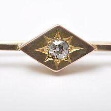 Kleine Stabbrosche mit Diamant, 14 Karat / 585er Gelbgold, Vintage