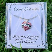Best Friend Pink Necklace - Gift for Women BFF Friendship Love Heart Personal