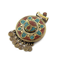 Turquoise Coral Brass Pendant Tibetan Nepalese Handmade Tibet Nepal UP1121