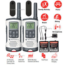 Motorola Talkabout Walkie Talkie 25 Mile Two Way Radios NOAA 22 Ch iVOX VOX T260