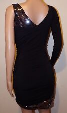 VICKY MARTIN sequin long sleeve one shoulder mini dress black BNWT 8 10 12 party