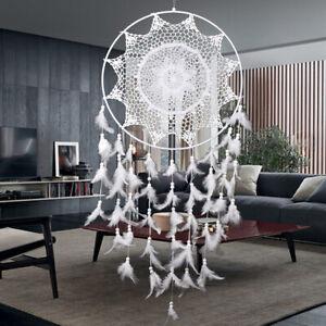 Weiß Dreamcatcher Traumfänger Indianer Ø 40cm Federn Träume Zuhause Dekoration