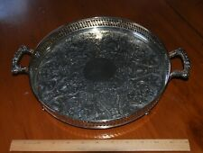 """Vintage Rogers Silverplate 11"""" Handled & Footed Gallery Serving Tray"""