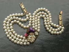 Vintage Three Strand Pearl Choker Necklace with Filigree & Art Glass Centerpiece