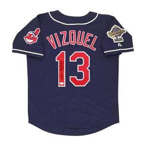 Omar Vizquel signed 1995 Cleveland Indians Alt Navy World Series Jersey PSA/DNA