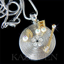Vinyl record made with Swarovski Crystal music note musical Necklace Jewelry New