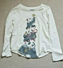 GapKids soft cream xmassy top 6-7 years 120 cm panda motif EXCELLENT CONDITION