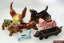 Vintage Lot of 7 Dachshund Doxie Weiner Dog Planter Figurines Dresser Caddy Tray