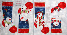 Studio E Chilly Silly Snowmates Christmas Stocking Snowman Cotton Fabric PANEL