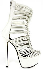 Embrace-Me Nude White Mid-Calf Strappy Platform Stiletto Heels Women's shoes