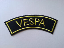 VESPA SCOOTER RALLY MOD SEW / IRON ON PATCH:- VESPA (a) BLACK SHOULDER FLASH