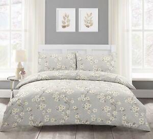 Super King Japanese Cherry Blossom Modern Duvet Cover & Pillowcase Set Grey