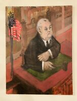 Portrait of a Judge Vintage Large Impressionist Oil Painting On Canvas