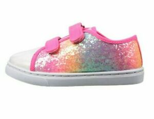 GIRLS NEW RAINBOW STRIPE GLITTER CANVAS PUMPS LOW TOP TRAINERS SHOES SIZE 10 - 2