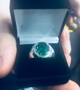 Emerald Men's Ring Sterling Silver 925 Synthetic Stone available size 6-14
