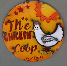 Metal Sign THE CHICKEN COOP Lodge Man Cave Home Decor Recycled Hen Rooster Chick