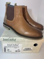 Josef Seibel Stanley 03, Cognac, Brown Leather Chelsea Boot, Size EU 41