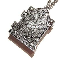 SILVER GRAVE STONE LOCKET tomb headstone goth halloween pendant necklace RIP Z5