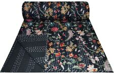 Indian Vintage Black Floral Printed Kantha Quilt Throw Pure Cotton Decor Blanket