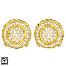 Men's Hip Hop Brass 14K Gold Plated 3D Round Screw Back Stud Earrings BE 022 G