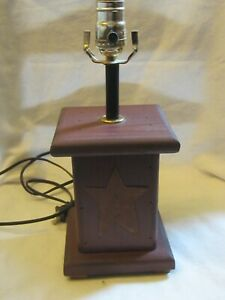 Country Rustic Primitive Farmhouse Red Square Wood Table Lamp Light Star Accent