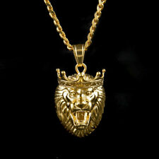 Men's Stainless Steel Gold Plated Lion Head Necklace Cuban Chain Crown King MN1