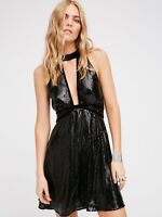 Free People Film Nior Sequin Velvet Plunge V-Neck Open Back Dress Black M 10