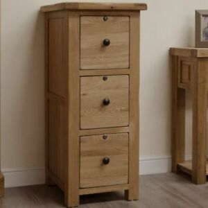 Rustic solid oak home office furniture three drawer lockable filing cabinet