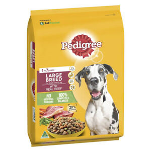 PEDIGREE LARGE BREED WITH REAL BEEF DOG FOOD 8Kg BAG PET SUPPLIES DRY FEEDING