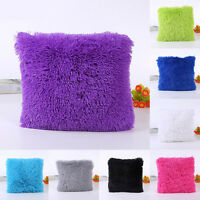 Plush Cushion Cover Fluffy Throw Sofa Bed Waist Pillow Case Home Room Decor New