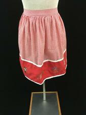 vintage half apron red white checkered embroidered island people 16 x 19 inches